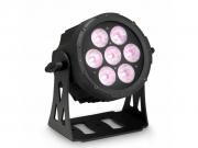 LED FLAT PRO 7 SPOT – 7x15 wattos RGBW LED, lapos fekete házban